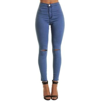 Modne damskie spodnie bawełniane średnio wysoka talia smukłe modne jeansy dla kobiet dziura klasyczne dziewczyny Slim zgrywanie spodnie jeansowe ołówkowe k2 tanie i dobre opinie Poliester Pełnej długości Osób w wieku 18-35 lat 1PC Women Pant Na co dzień Plaid Zipper fly HOLE Ołówek spodnie