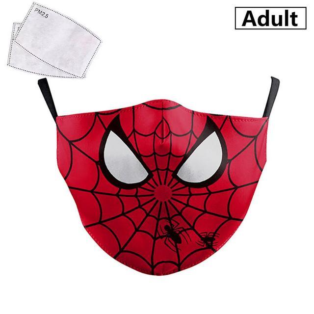 PM2.5 Face Adult Mask Children Mask Anime Print Spiderman Grimace Mask Reusable Filter Pad Pollution Activated Carbon kids Masks 1