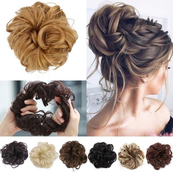 1PC Women's Fashion Curly Wave Synthetic Hair Bun Hair Accessories Hair Elastic Scrunchie Hair Rope 40 Colors Headwear