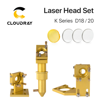Cloudray K Series CO2 Golden Laser Head Set Lens Dia12/18/20mm Mirror Dia 20mm for 2030 4060 K40 Laser Engraving Cutting Machine fireray co2 laser head set kit 1pcs dia 20mm znse focus lens 3pcs dia 25m mo si mirror 25mm for laser engraving cutting machine