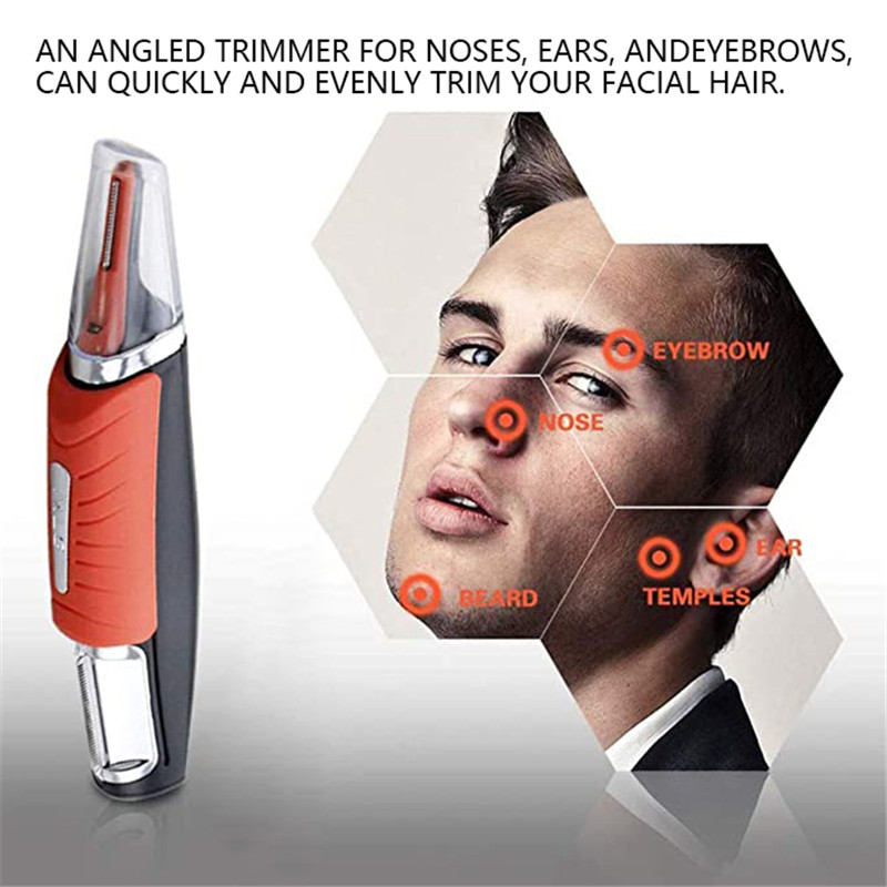 2-in-1 Electric Nose Hair Trimmer Multifunctional Men's Epilator No Battery Orange Mens Eyebrow Trimmers