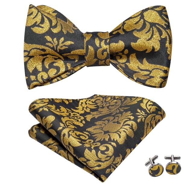 Herren Krawatte Gold-Braun Marineblau Hochzeit Paisley Seide Geblümt Taschentuch