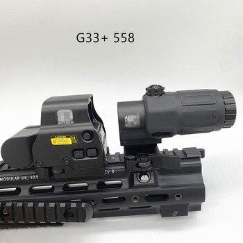 Juego de lupa G33 3X 558, punto rojo, Airsoft con interruptor a lado, montaje rápido desmontable QD, mira de caza, nuevo