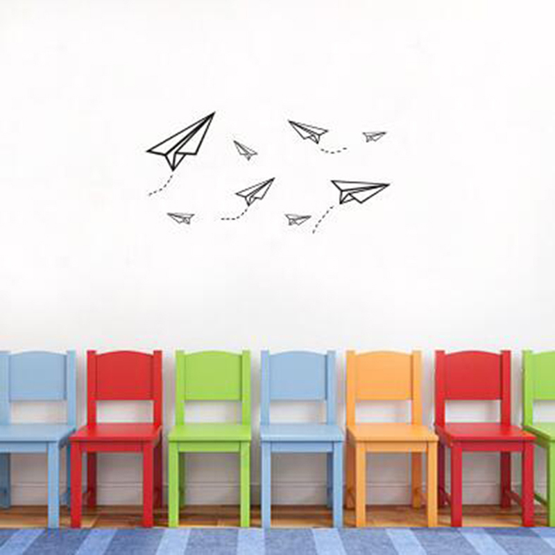 Simple Personality Creative Cartoon Paper Airplane Wall Sticker Children Room Living Room Decoration Wall Sticker image