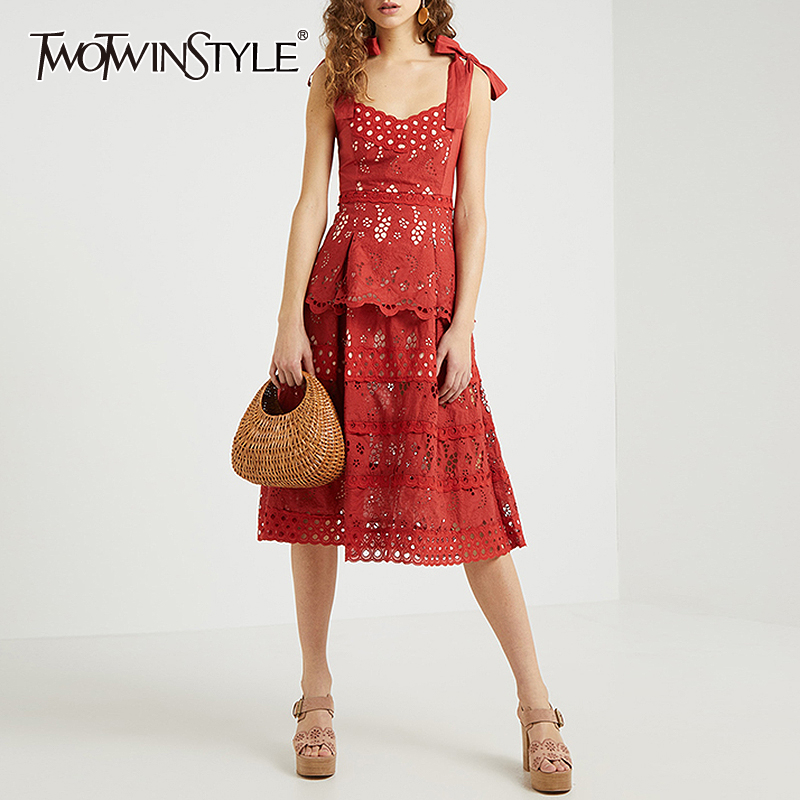 TWOTWINSTYLE Hollow Out Bowknot Dress For Women Spaghetti Sleeveless Square Collar High Waist Dresses Female 2020 Spring New