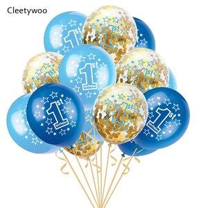 16 шт., воздушные шары на первый день рождения, синие, розовые конфетти, латексный баллон для мальчиков и девочек, 1 год, первый день рождения, у...