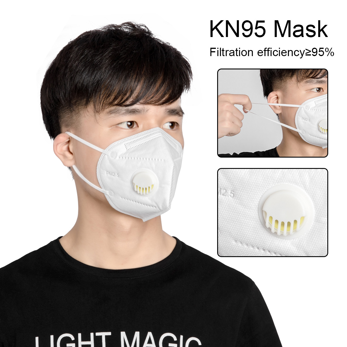 100pcs Mask KN95 PM2.5 Anti Virus Formaldehyde Bad Smell Bacteria Respirator Valve Dust-proof Mouth Masks Coronavirus Prevention