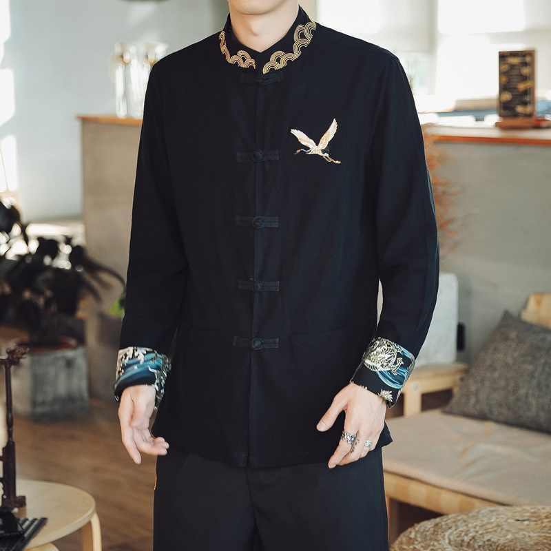 Tradizionale Stile Cinese Del Ricamo Drago Intrattenimento Musiche E Canzoni Camicetta Uomo Vestito di Linguetta Kung Fu Camicette Magliette e camicette Giacca Cheongsam Nuovo Anno Cappotti KK3246