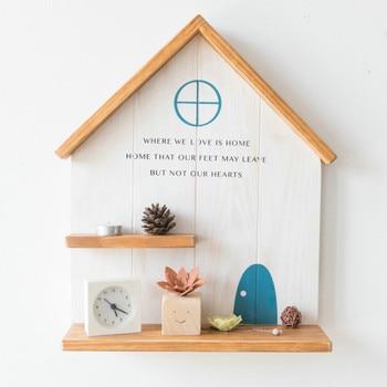 Creativo estante de pared de viento nórdico para decoración de habitación de niños casas de muñecas de madera estante de bebé para niños estante de pared estante geométrico