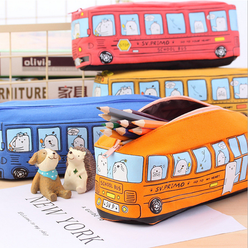 Kawaii Creative Large Capacity Canvas Car Pen Bag Stationery Box Cartoon Animal School Bus Writing Case Trousse School Supplies