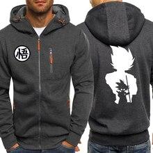 Dragon ball z anime hoodies dos homens outono inverno jaqueta de lã masculina 2019 casual esportiva zip harajuku com capuz moletom casaco