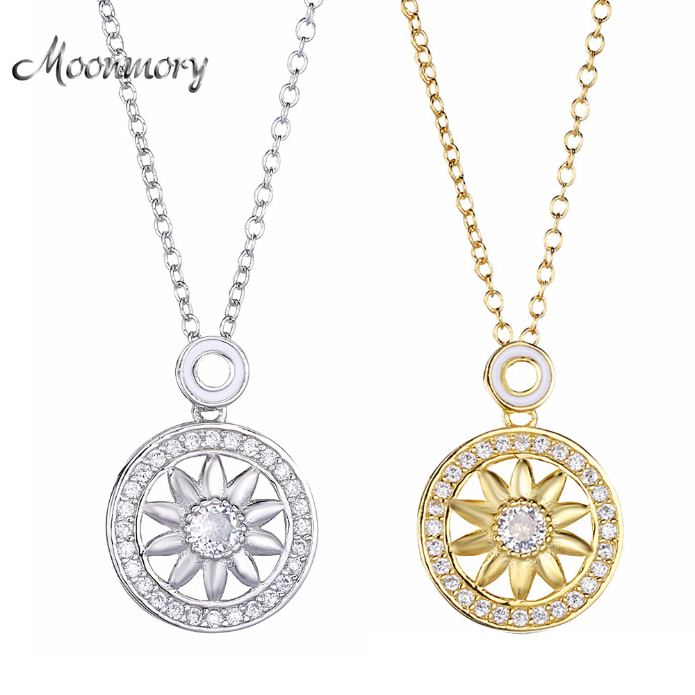 Moonmory Fine Jewelry 925 Sterling Silver Sun Flower Pendant Necklace For Women Long Chain Adjustable Pendant Necklace For Men