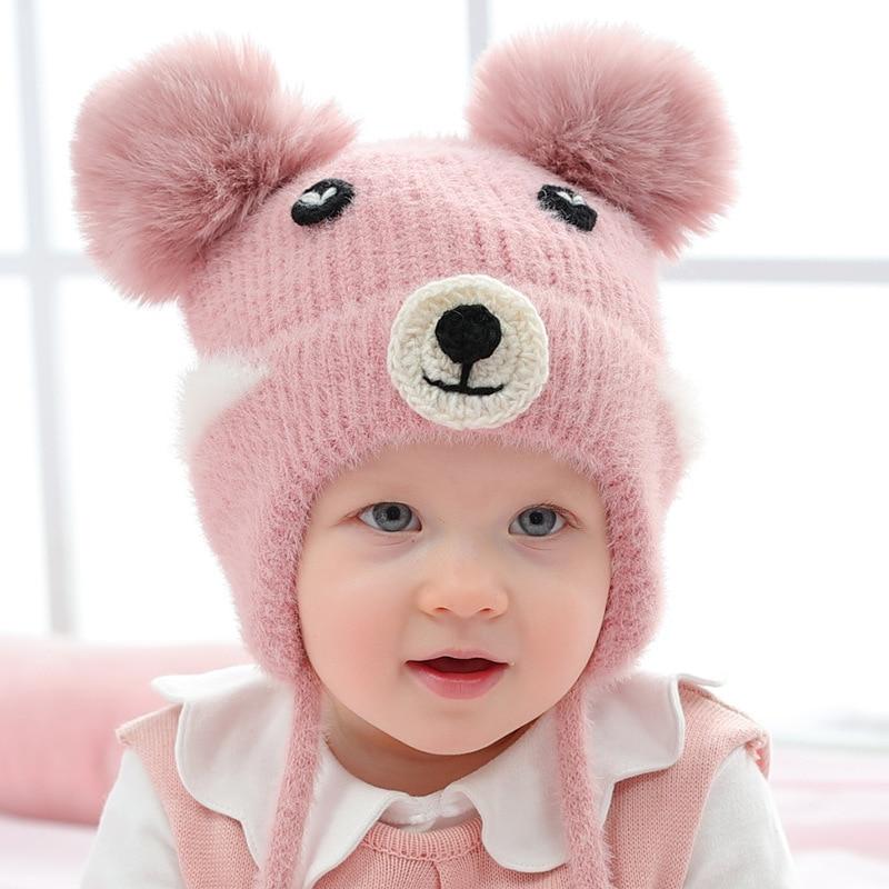 Wool Thick Knitted Baby Hat Cartoon Bear Autumn Winter Korean  Embroidered  Cute Fur Ball For Girls Boys Ear Cap