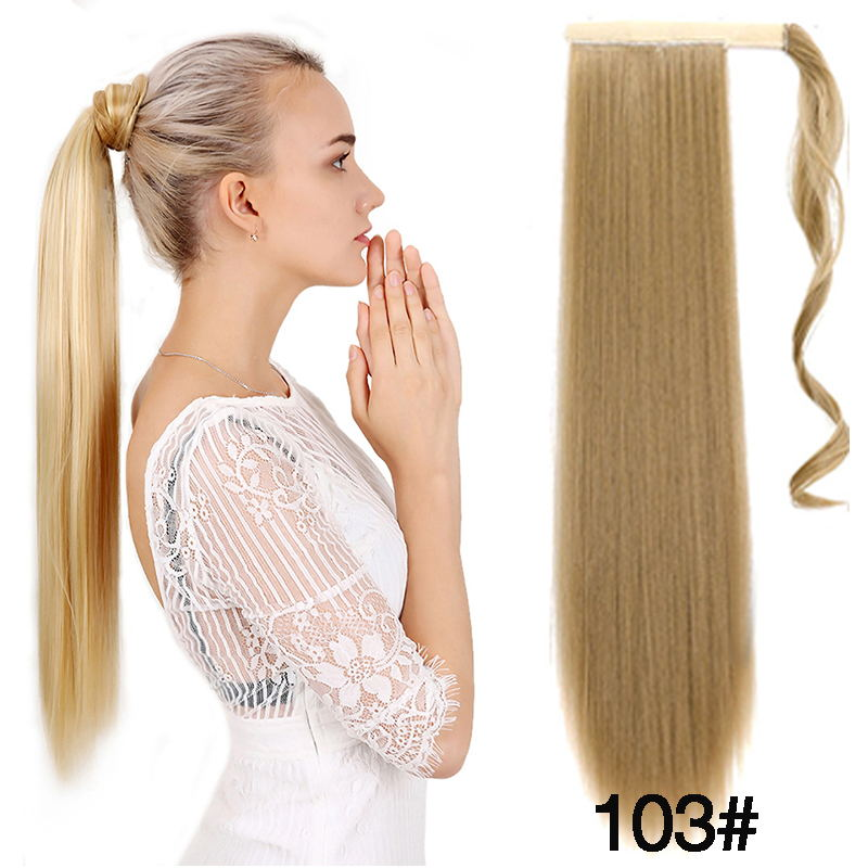 Allaosify Long Straight Drawstring Ponytail Clip In Hair Extensions Heat Resistant Synthetic False Hair Clip In Hair Tails Fake