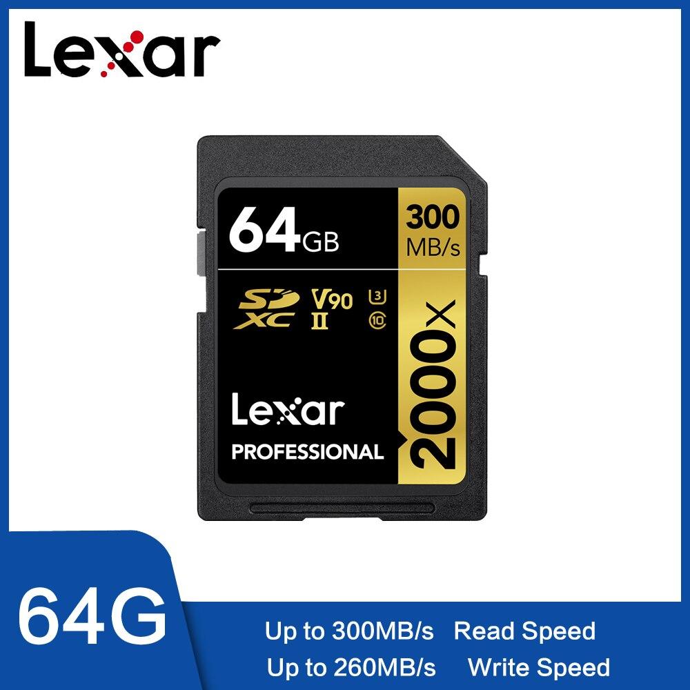 Lexar Original 300 mo/s 2000x64 GB 128gb carte sd 32GB U3 carte SD SDXC classe 10 carte mémoire flash sd pour 1080p 3D 4K caméra vidéo