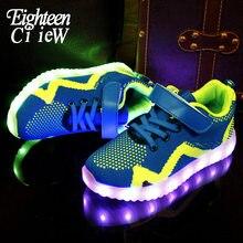 Crianças iluminam acima sapatos para crianças meninos tênis de incandescência para menino & menina carregamento usb iluminado krasovki tênis luminoso led sapatos