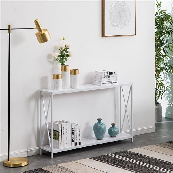 Multifunction Entrance Table Triamine Board Cross Iron Frame Porch Table Sofa Side Table White Wood Grain Easy To Assemble