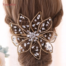 YouLaPan Bridal Crowns for Women Tiara Golden Headpieces Accessories Rhinestone Headpiece Hair Jewelry HP248-G