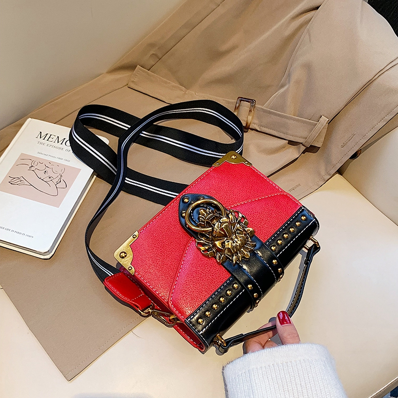 He9367cb9b1184d45bcee55935323ddceF - Female Fashion Handbags Popular Girls Crossbody Bags Totes Woman Metal Lion Head  Shoulder Purse Mini Square Messenger Bag