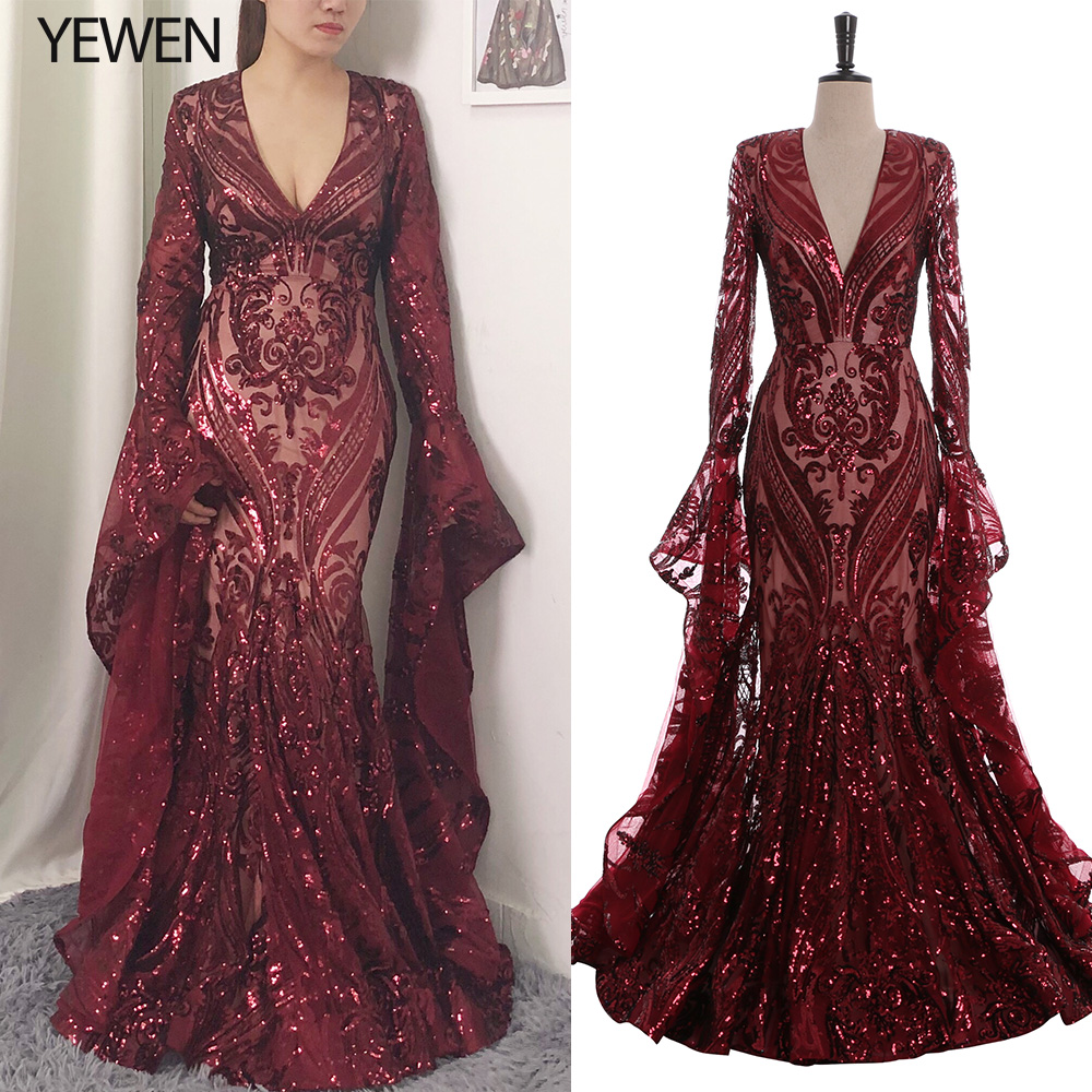 Sexy Elegant Mysterious Noble Evening Dresses Long 2019 Sequined Mermaid Prom Dress Evening Gowns V Burgundy Robe De Soiree