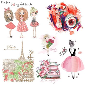 Prajna Fashion Girl Iron On Patches For Clothing Vynil Heat Transfer Ironing Stickers T-shirt Ballet Transfers DIY