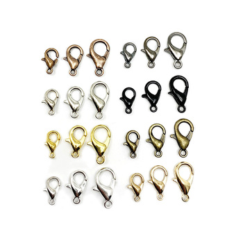 50pcs/lot Gold Alloy Lobster Clasp Hooks For DIY Jewelry Making Findings Necklace Bracelet Chain Accessory Supplies 50pcs zinc alloy plating silver angel girl charm rotating lobster keychain key chain fit fashion jewelry findings for women f551
