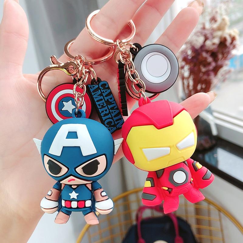 Disney Marvel Legends Avengers Captain America Iron Man Car Keychain Silica Gel Key Chain Pendant Men Women Bag Keyring