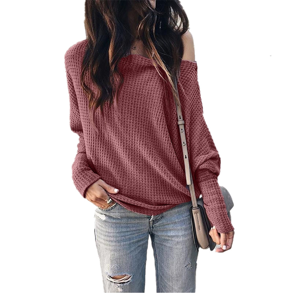 NIBESSER 2019 New Arrival Women Off Shoulder Loose Pullover Sweater Long Sleeve Knit Sweater Jumper Top Ladies Casual Fall Tops