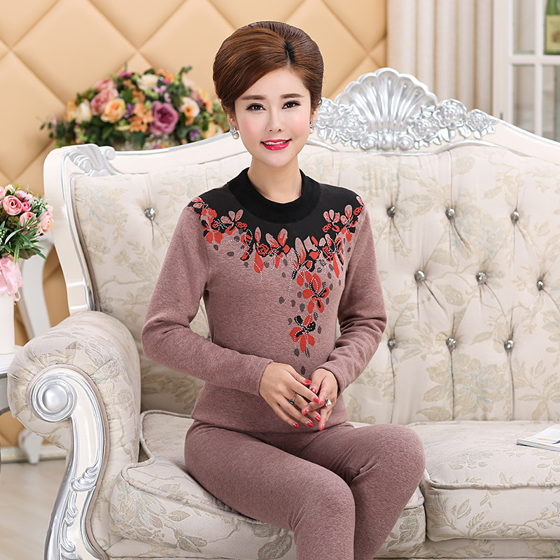 L-4XL Plus Size Middle-aged Winter Women Clothes Turtleneck Cotton Women's Thermal Underwear Set Thick Velvet Warm Long Johns