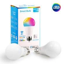 Led wi-fi inteligente lâmpada rgb + branco + quente trabalho de luz com alexa/google casa app controle remoto lâmpada e27/e14/b22 10w decoração lampara