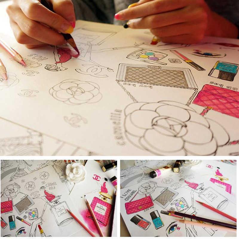 96 листов, модный дизайн, книжка-раскраска с зажимом для манги, для детей, молодежи, взрослых, для рисования, искусства, колледжа, цвета, для обучения