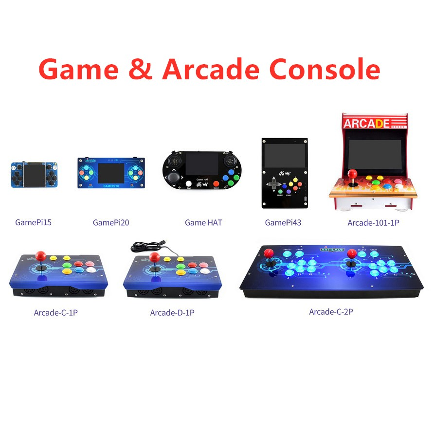 Waveshare Game & Arcade Console,Display Based On Raspberry Pi,1.54inch ,2.0inch,3.5inch,4.3inch,10.1inch
