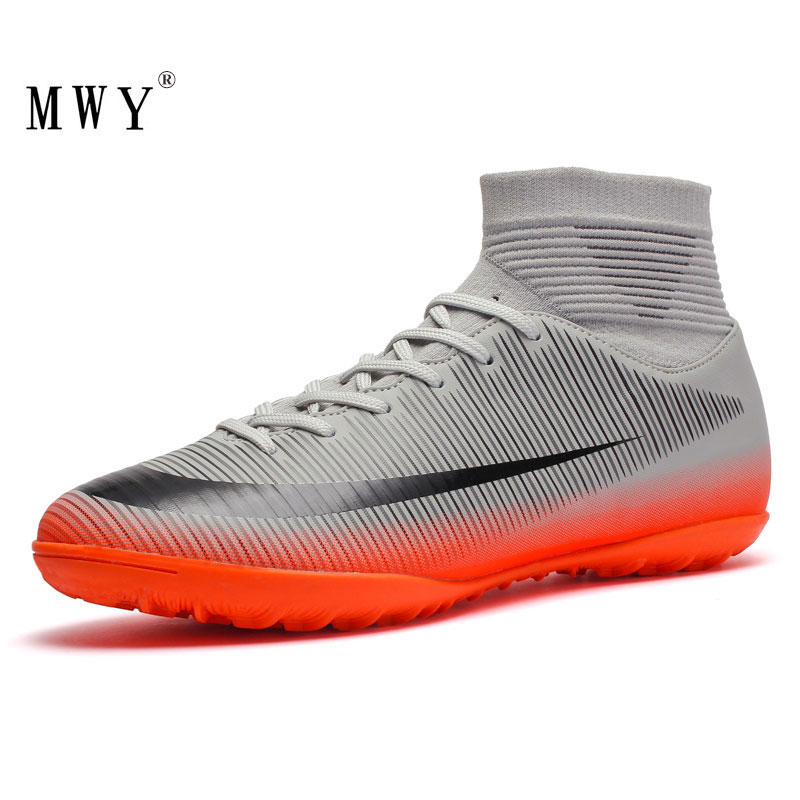 MWY Men High Ankle Football Boots Training Soccer Cleats Turf Soccer Shoes Indoor Futsal Sneakers Chaussure Football Shoes