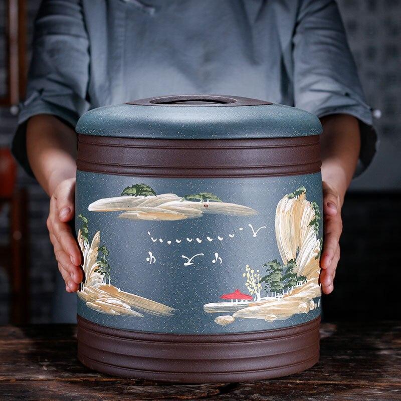 Винтажная банка для хранения чая Китайский большой чайный Caddy керамическая крышка с защитой от запаха пуэр чайный контейнер Theeblik контейнер
