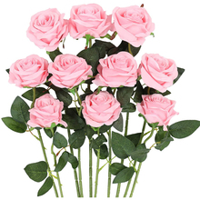 10Pack White Pink Artificial Rose Branch Fake Silk Flower Blossom Bridal Bouquet For Wedding Party Home Valentine's Day Decor