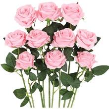10Pack blanc Rose artificielle Rose branche faux soie fleur fleur Bouquet de mariée pour fête de mariage maison saint valentin décor