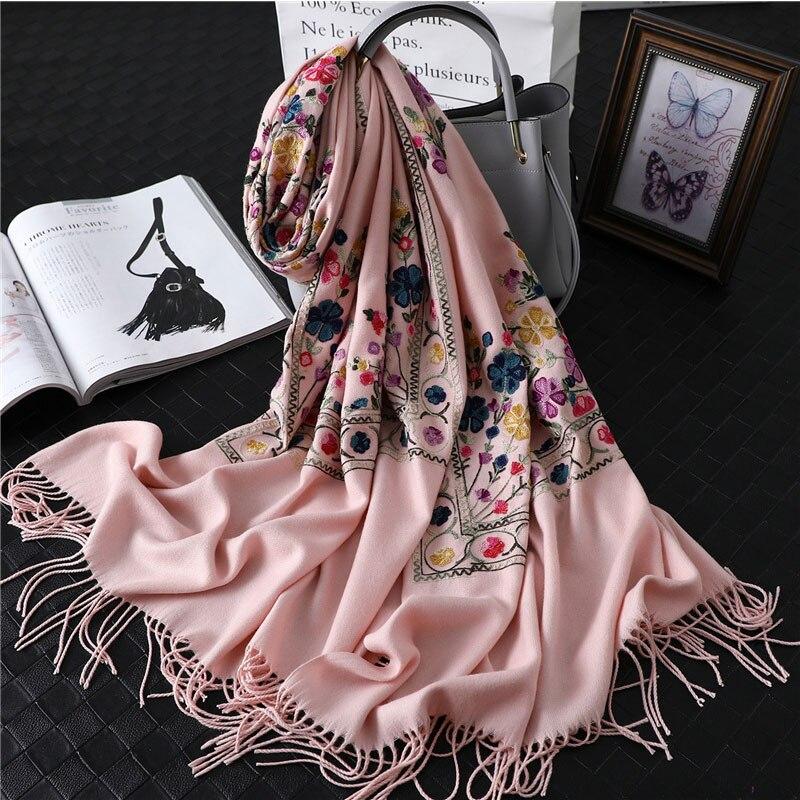 2019 designer brand women   scarf   winter embroidery cashmere   scarves   lady shawls and   wraps   female blanket pashmina foulard femme