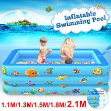 Kid Inflatable Pool Children Home Use Paddling Pool 110-210cm Large Size Inflatable Square Swimming Pool for Baby piscina grande