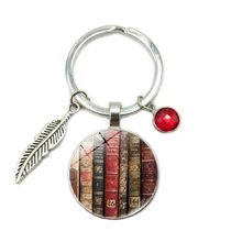 2019 New Hot Library Book Time Glass Dome Keychain 8 Color Crystal Alloy Leaves Jewelry Key Ring Small Gift цена и фото