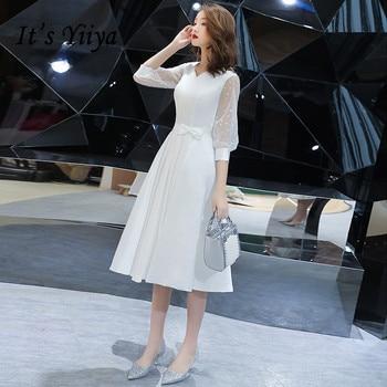 Evening Dresses White It's Yiiya AR204 2020 Three Quater Lantern Sleeve Formal Vestidos Elegant  Bow Robe De Soiree - discount item  37% OFF Special Occasion Dresses