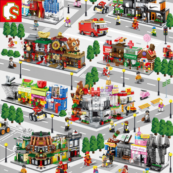 Sembo Building Blocks Mini City Street Store Building Bricks Chinatown Series Educational Kids Toys for Kids 2294pcs moc series the old finishing store children educational model building blocks bricks toys for kids compatible legoings