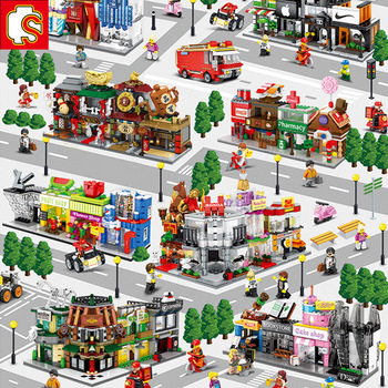 цена на Sembo Building Blocks Mini City Street Store Building Bricks Chinatown Series Educational Kids Toys for Kids