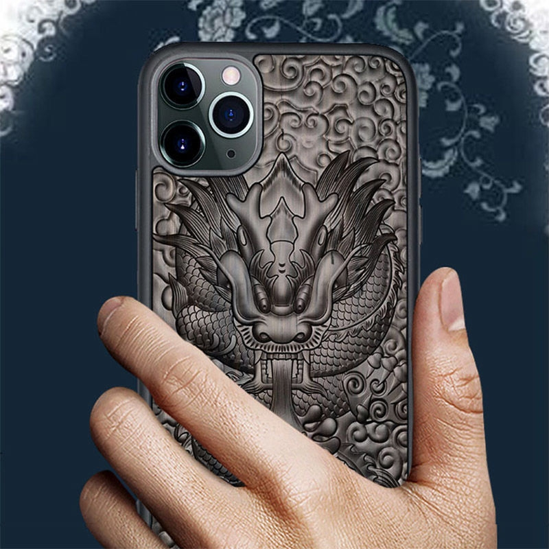 3D Relief Embossed Wolf Tiger Fish Sandalwood Case for iPhone 12 Pro