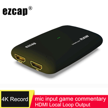 Card Game-Record Video-Capture Live-Streaming Switch XBOX PS4 Ezcap321 HDMI 1080P Mic