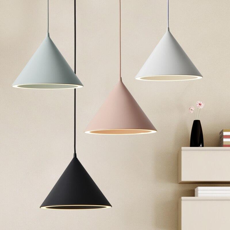 Современный светодиодный подвесной светильник с алюминиевым абажуром для столовой, кафе, бара, ресторана, скандинавского конуса, подвесной...
