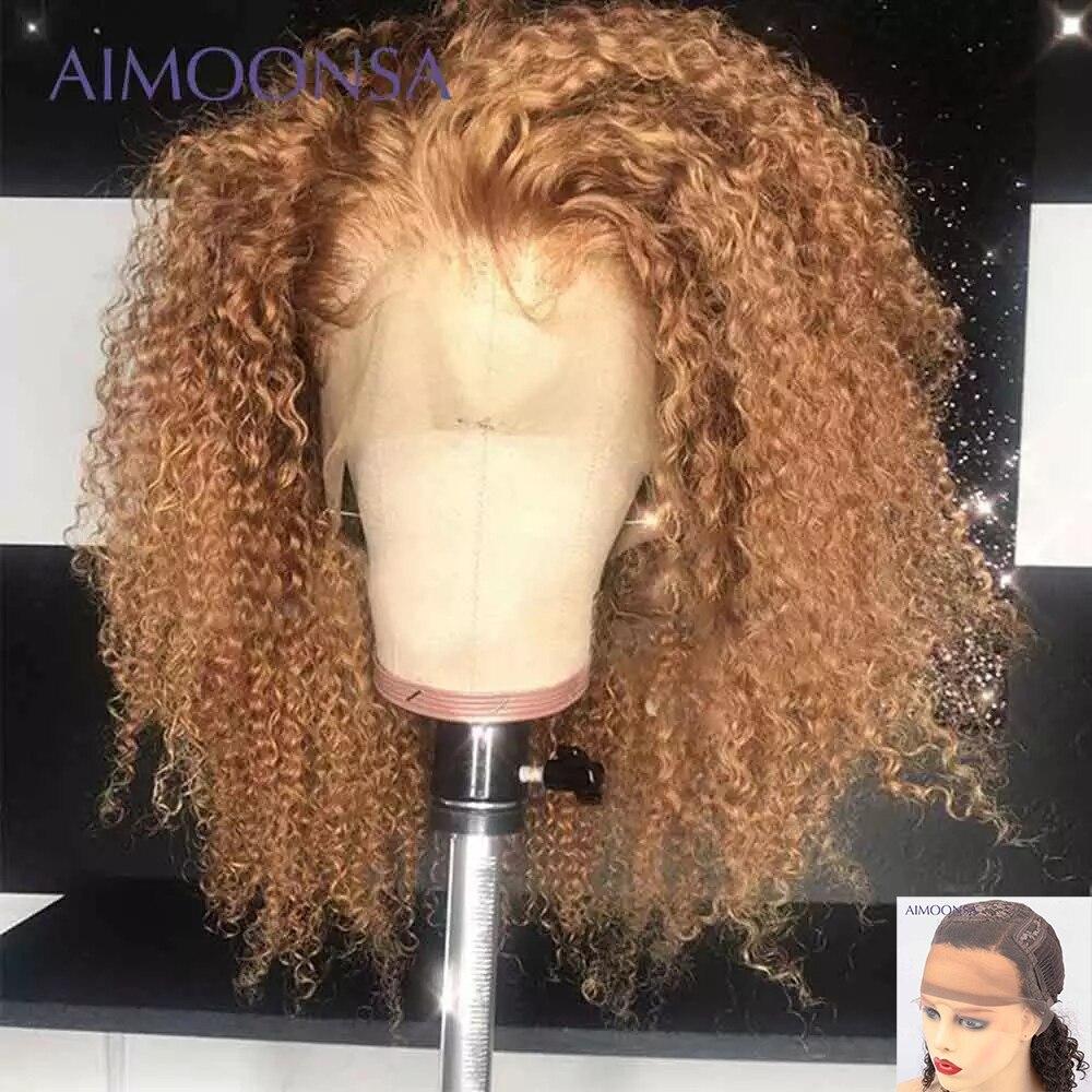 Коричневый и светлый парик из монгольского афро кудрявого парика, парики из человеческих волос для женщин, парик плотностью 180 T на сетке 13x6 ...