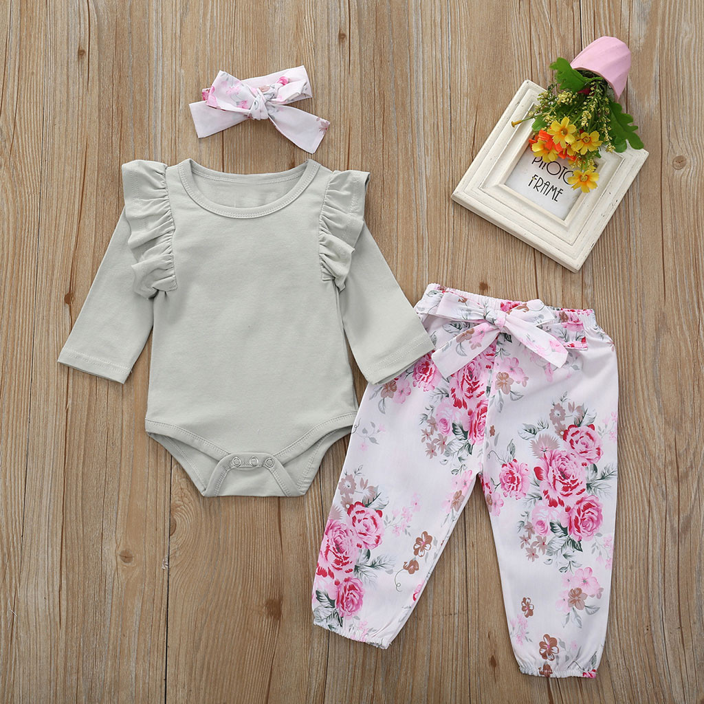 Baby Girl Floral Print Clothes Set Newborn Long Sleeve Bodysuit Trouser Infant Romper Outfit Set