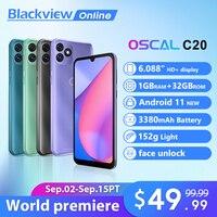 Blackview-Smartphone OSCAL C20 3G, teléfono móvil con desbloqueo facial, pantalla de 6.088 pulgadas, Android 11, 1 GB de RAM + 32 GB de ROM, 3380mAh