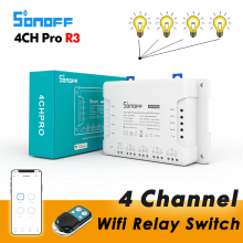 Sonoff 4CH Pro R3 / 4CH R3, Smart Wifi Relay Switch, 4 Channel 433 RF Control eWelink APP Voice Control With Alexa Google home