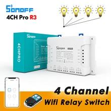 Sonoff 4CH Pro R3 / 4CH R3, commutateur de relais Wifi intelligent, 4 canaux 433 contrôle RF contrôle vocal eWelink APP avec Alexa Google home